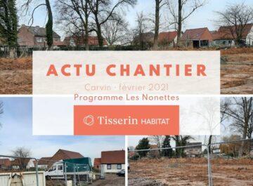 Actulité du chantier des logements neufs à Carvin, programme Les Nonettes disponible en location accession en PSLA